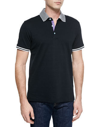 Axel Knit Short-Sleeve Pique Polo Shirt, Black