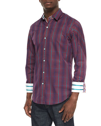 Flagship Plaid Contrast-Cuff Sport Shirt, Purple