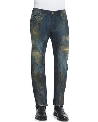 Gold Crackle, Studded-Pocket Denim Jeans, Blue