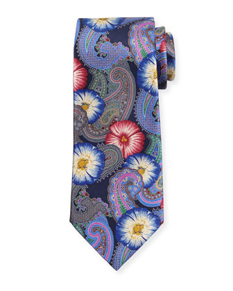 Quindici Hawaiian Punch Silk Tie, Navy