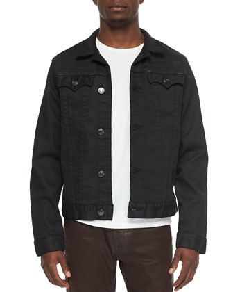Danny Coated Denim Jacket, Black