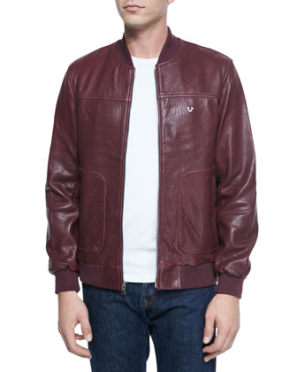 Solid Leather Jacket, Wine
