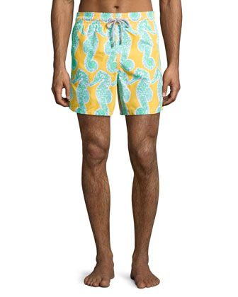 Moorea Seahorse-Print Swim Trunks, Yellow/Green