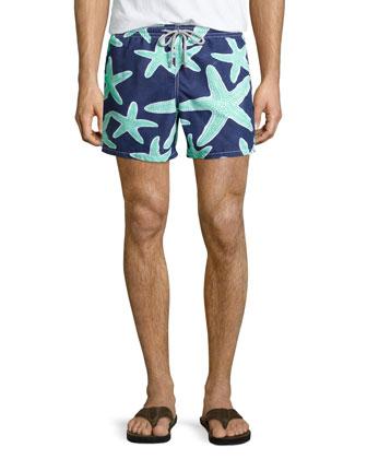 Moorea Starfish-Print Swim Trunks, Navy