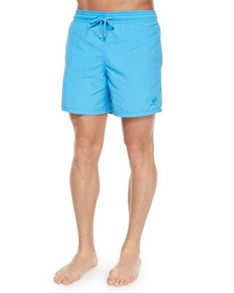 Moorea Water Reactive Swim Trunks, Turquoise