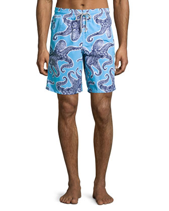 Okoa Octopus-Print Swim Trunks, Blue