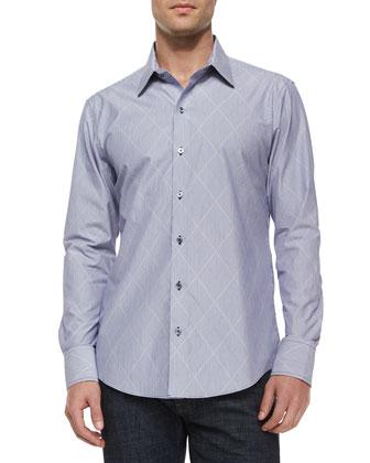 Diamond-Print Woven Long-Sleeve Shirt, Blue