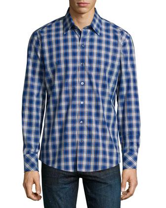 Jedda Plaid Sport Shirt, Blue/White/Rust