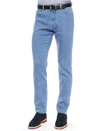 PBJ Stretch-Denim Jeans, Blue