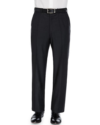 Tic Flat-Front Trousers, Charcoal