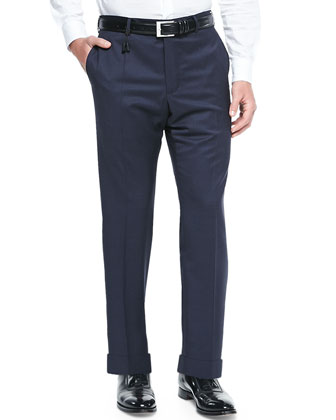 Check Super 130's Wool Trousers, Blue/Navy
