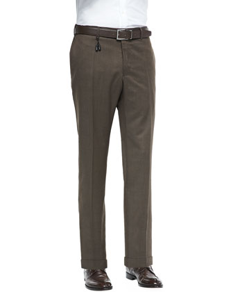 Melange Wool Trousers, Brown