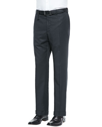 Benson Melange Wool Trousers, Charcoal