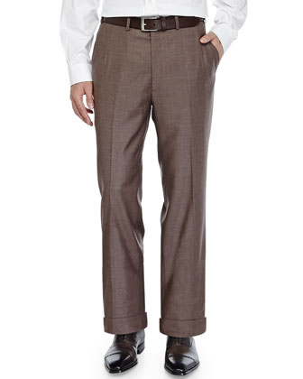 Twill Flat-Front Trousers, Brown