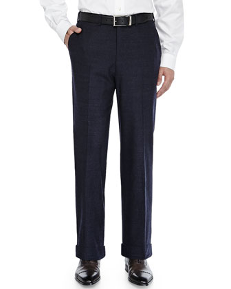 Tic Flat-Front Trousers, Navy
