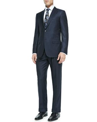Trofeo Multi-Stripe Suit & Paisley Textured Silk Tie