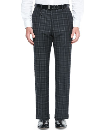 Plaid Super 120's Wool Trousers