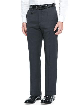 Check Super 130's Wool Trousers, Black/Gray
