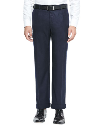 Wool Cargo Trousers, Navy