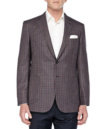 Cashmere Check Two-Button Jacket, Gray/Red