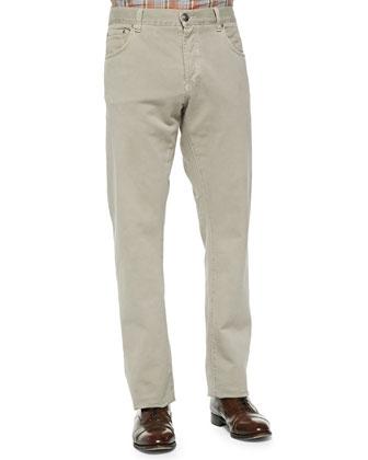 Straight-Leg Denim Jeans, Tan