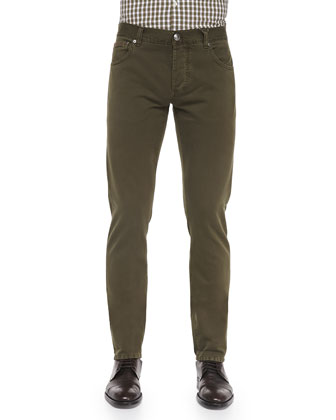 Straight-Leg Denim Jeans, Olive
