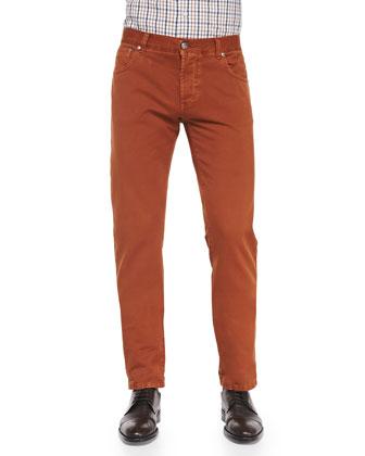Straight-Leg Denim Jeans, Orange