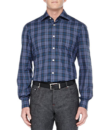 Plaid Ultrafine-Woven Shirt, Blue/Green