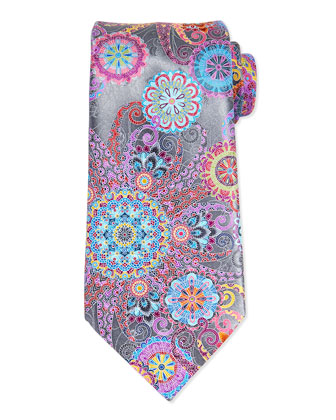 Venticinque Jellyfish Paisely Tie, Silver