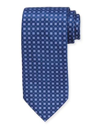 Neat Square Silk Tie, Navy