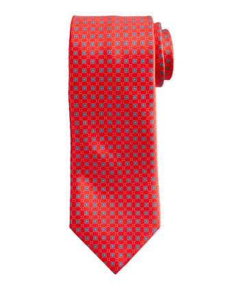 Neat Square Silk Tie, Navy/Red
