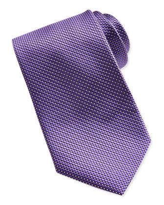 Textured Check & Dot Silk Tie, Purple
