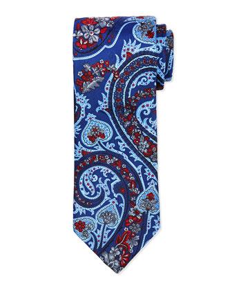 Hawaiian Scarf-Paisley-Print Tie, Navy