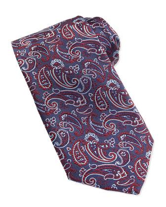 Paisley Pattern Woven Tie, Burgundy