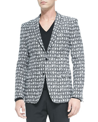 Printed Jacquard Jacket, Black/White