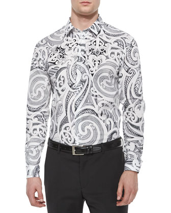 Baroque-Print Long-Sleeve Shirt, White/Black