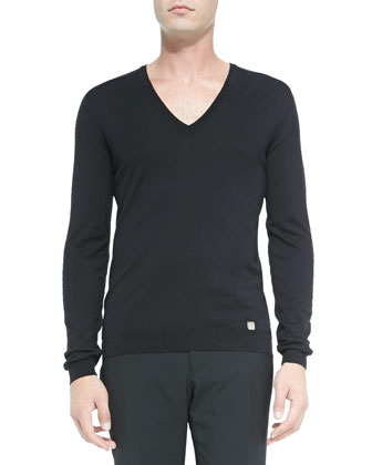Perforated Sleeve V-Neck Sweater, Black