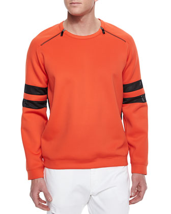 Zip-Shoulder Sweater with Mesh Sleeves, Orange