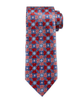 Printed Fancy Satellite Medallion Silk Tie, Red