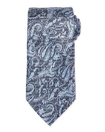 Woven Airbrush Tonal Paisley Tie, Aqua