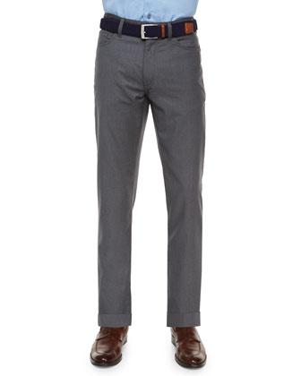 Wool Five-Pocket Trousers, Light Gray