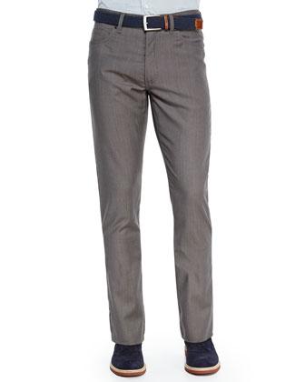 Wool Five-Pocket Trousers, Beige
