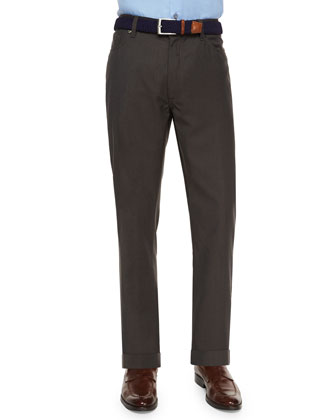 Wool Five-Pocket Trousers, Chocolate