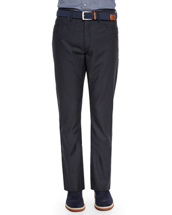 Wool 5-Pocket Pants, Charcoal