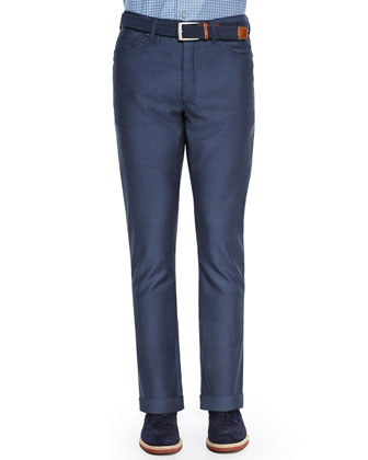 Wool 5-Pocket Pants, Blue