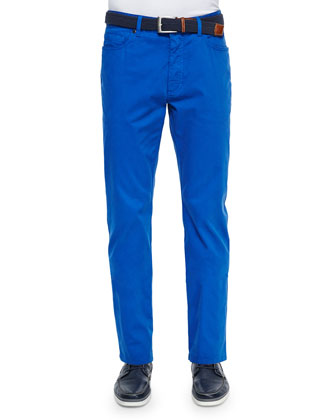 Five-Pocket Stretch-Cotton Pants, Blue