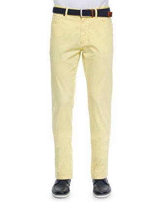 Five-Pocket Stretch-Cotton Pants, Yellow