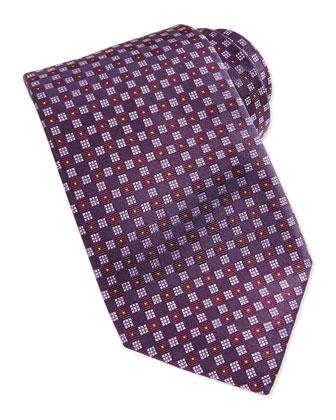 Checkerboard Neat Tie, Grape