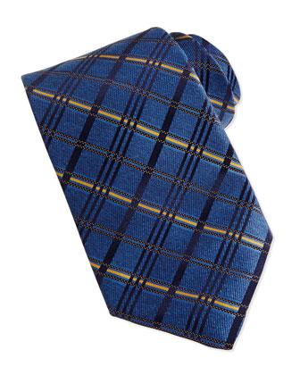 Satin Diagonal Plaid Tie, Blue