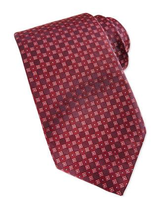 Checkerboard Neat Tie, Burgundy